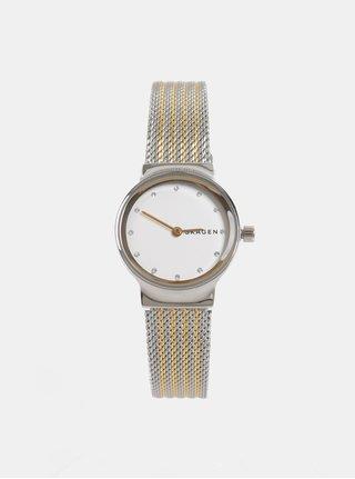 Dámské hodinky s nerezovým páskem ve zlato-stříbrné barvě Skagen