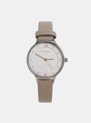 03d87d079 Béžové dámske hodinky s koženým remienkom Skagen