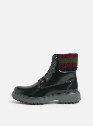Tmavě zelené dámské kotníkové boty s úpletovým lemem Geox Asheely ee7a5576a5