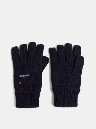 Tmavě modré pánské rukavice s výšivkou Superdry