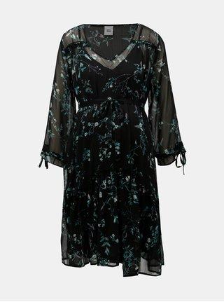 Čierne kvetované tehotenské šaty s volánmi Mama.licious Sami