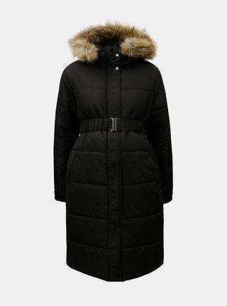 Čierny zimný tehotenský kabát s umelou kožušinkou Mama.licious Maggie