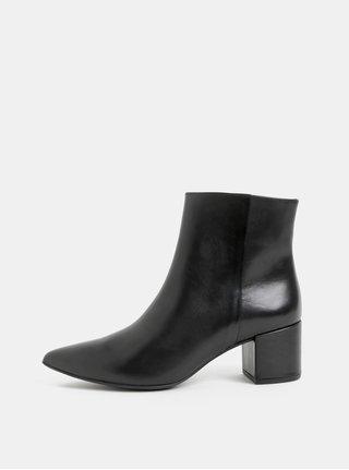 Černé kožené kotníkové boty na podpatku Högl