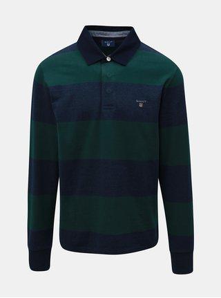 Zeleno-modré pánské pruhované polo tričko s dlouhým rukávem GANT