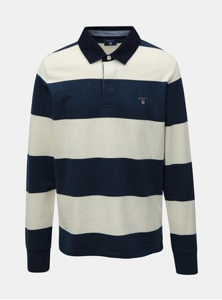 Krémovo-modré pánské pruhované polo tričko GANT