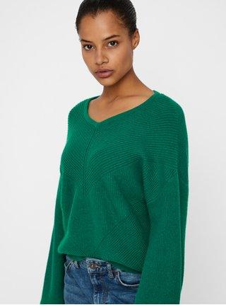 Tmavozelený pletený sveter s balónovými rukávmi VERO MODA Diva