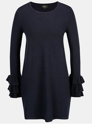 Rochie pulover bleumarin cu volane la maneci - ONLY Ginny