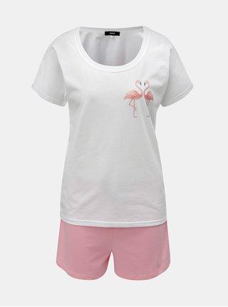 Pijama de dama roz-alb scurta cu motiv flamingo ZOOT