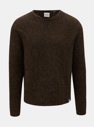 Hnedý melírovaný sveter ONLY & SONS