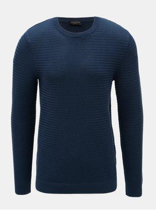 Tmavě modrý vzorovaný svetr Selected Homme