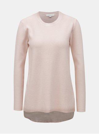 Ružový sveter s blúzkovou vsadkou Apricot