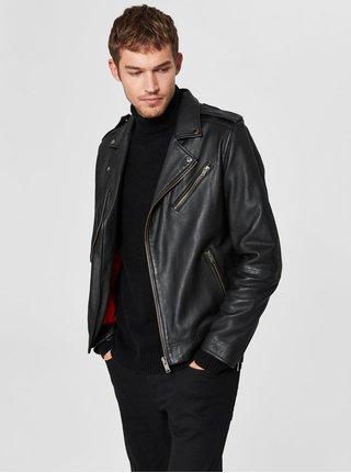 Jacheta biker neagra din piele Selected Homme