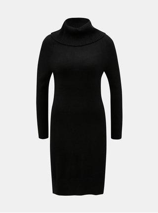 Černé svetrové šaty s rolákem Yest