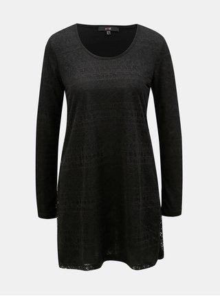 Bluza neagra mai lunga cu model Yest