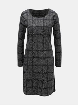 Šedé žíhané šaty s kostkovaným vzorem Yest
