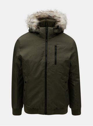 Kaki zimná bunda s umelou kožušinkou ONLY & SONS