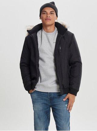 Čierna zimná bunda s umelou kožušinkou ONLY & SONS