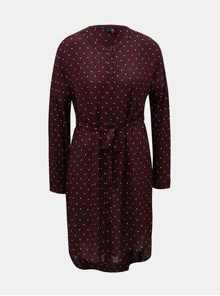 Vínové puntíkované košilové šaty VERO MODA Zilia