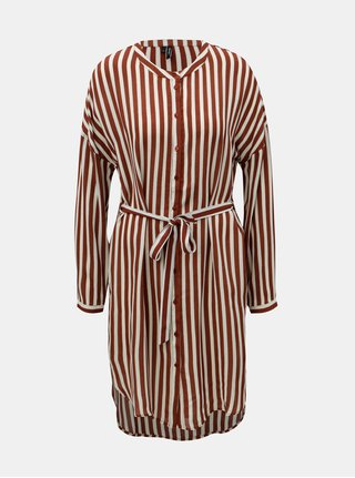 Krémovo–hnedé pruhované košeľové šaty VERO MODA Zilia