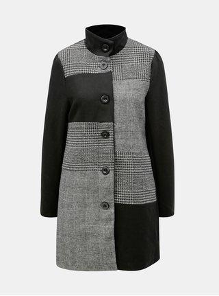Černo-šedý vzorovaný vlněný kabát Yest