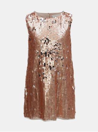 Holčičí šaty s flitry v růžovozlaté barvě Name it