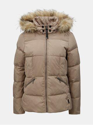 Béžová prošívaná zimní bunda s umělým kožíškem VERO MODA Wonderland