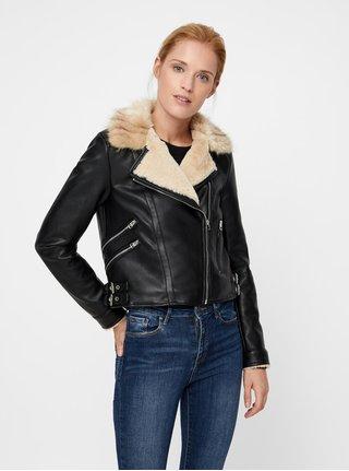 Čierna koženková bunda s umelou kožušinkou VERO MODA Fall