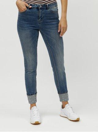 Modré slim džíny s korálkovou aplikací VERO MODA Seven
