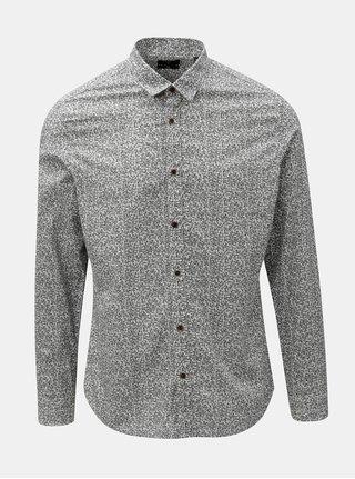 Černo-bílá květovaná slim fit košile ONLY & SONS Mexit