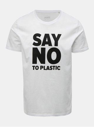Tricou barbatesc alb cu imprimeu ZOOT Original Say no to plastic