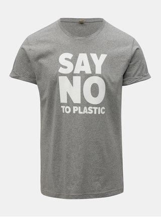 Tricou barbatesc gri melanj cu imprimeu ZOOT Original Say no to plastic
