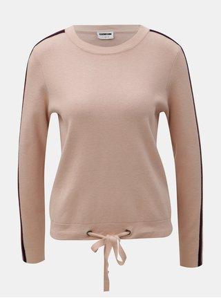 Staroružový sveter s pruhmi na rukávoch Noisy May