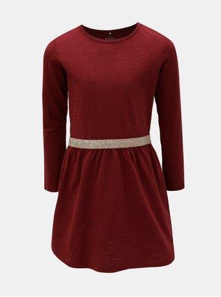 Vínové šaty s dlouhým rukávem Name it Valja