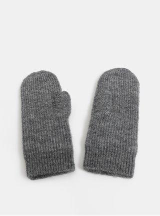 Sivé melírované rukavice s prímesou vlny z alpaky Pieces