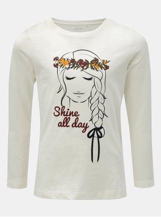 Biele dievčenské tričko s potlačou a dlhým rukávom Name it Veen