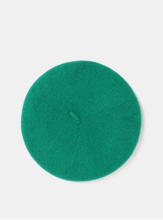 Zelený vlněný baret Pieces French