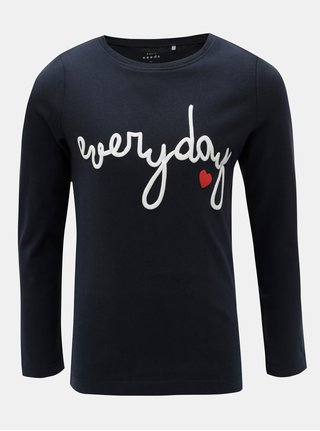 Tmavomodré dievčenské tričko s potlačou a dlhým rukávom Name it Veen