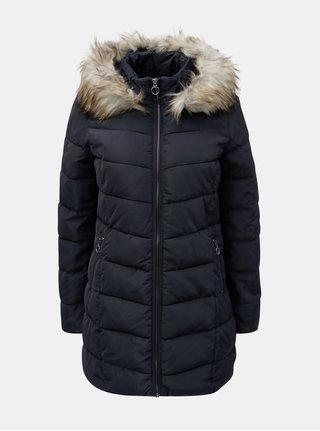 Tmavomodrý prešívaný kabát s umelou kožušinkou ONLY