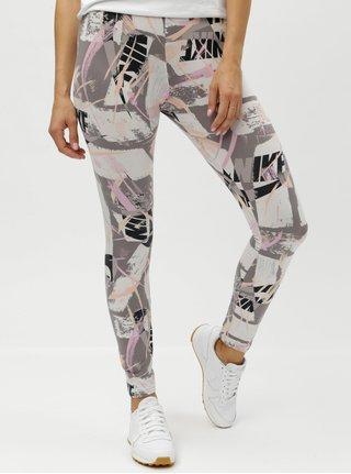 Krémovo–sivé dámske vzorované tight fit legíny Nike