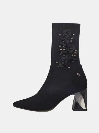 Čierne členkové topánky s korálkovou aplikáciou Tamaris