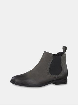 Sivé kožené chelsea topánky Tamaris