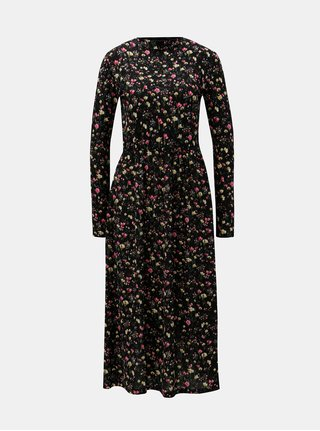Černé květované midišaty s gumou v pase Jacqueline de Yong