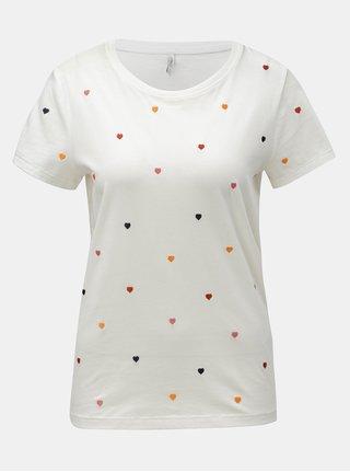 Bílé tričko s vyšívaným motivem ONLY