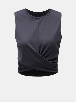 Šedé dámské funkční crop tričko Nike