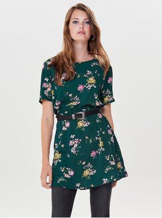 Tmavě zelené květované šaty s gumou v pase Jacqueline de Yong