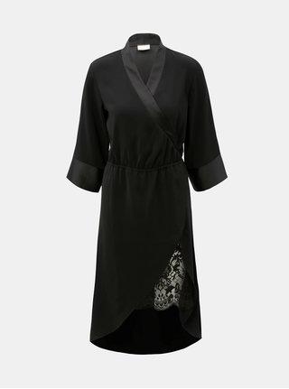 Čierne prekladané šaty s čipkou VILA Milena