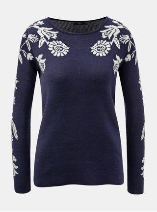 Tmavě modrý svetr s květovaným motivem M&Co