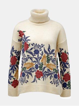 Helanca oversize crem cu motiv floral M&Co
