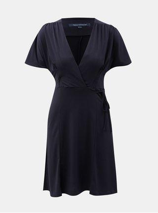 Modré šaty s překládaným výstřihem French Connection
