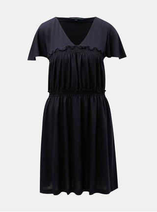 Modré šaty s véčkovým výstrihom French Connection